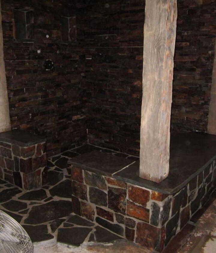 rustic stone shower, concrete masonry, tiling