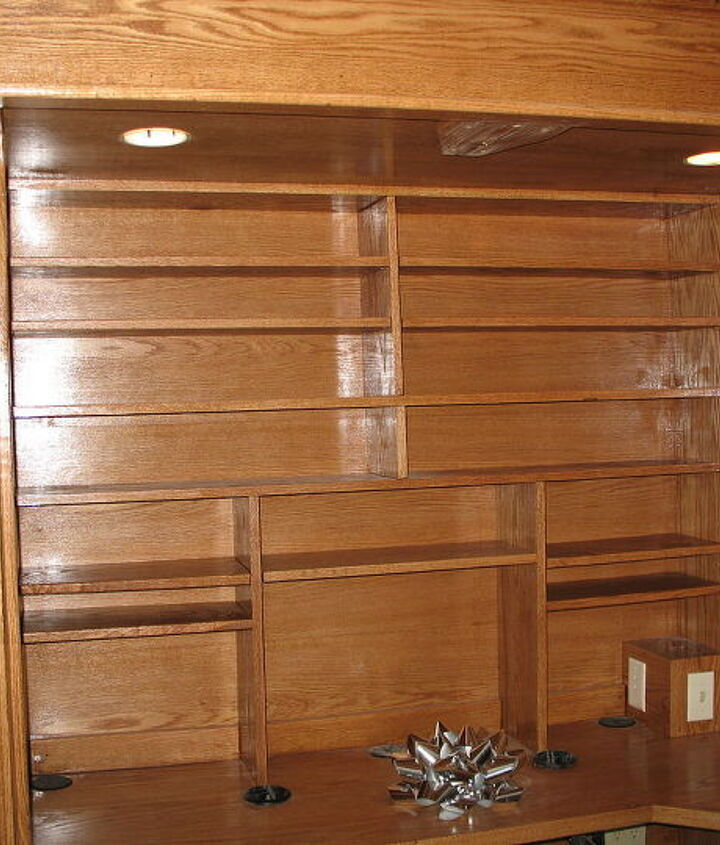 here is a built in computer desk that closes to book shelves, doors, painted furniture, shelving ideas, storage ideas, woodworking projects