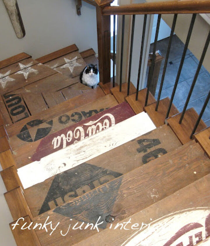 Desiring the look of old crates, I created stencils with my signmaking equipment. The paint went directly on the original wood!