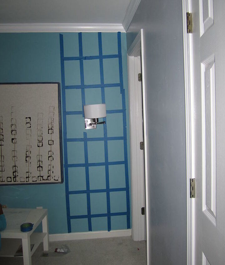 I had the to tape the wall again just to make sure I had equal divided spaces for each motif.
