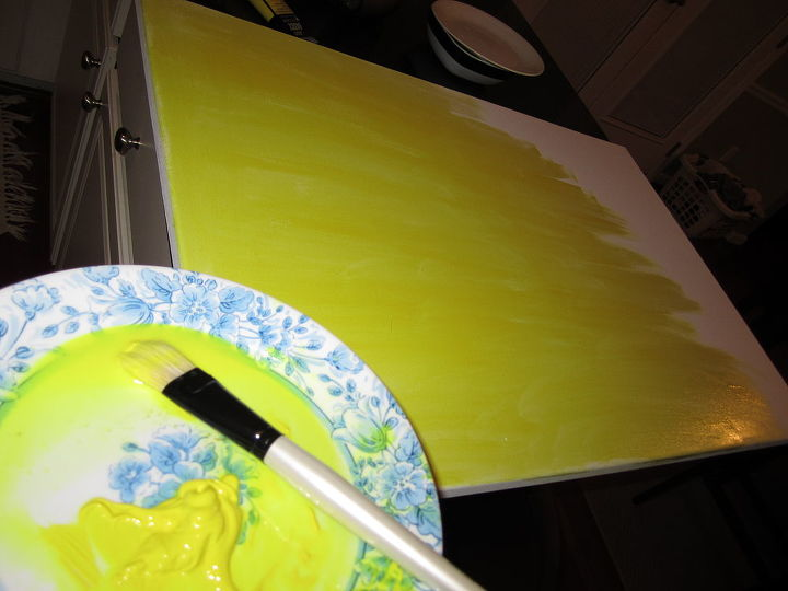 Now for some homemade art. I bought the canvas at Micheal's along with 2 colors of paint. Yellow was the accent color I was going to introduce into the blue gray room colors.