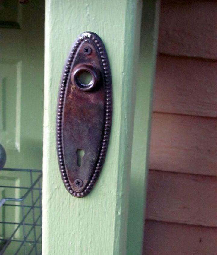 The door knob plates from the old door.