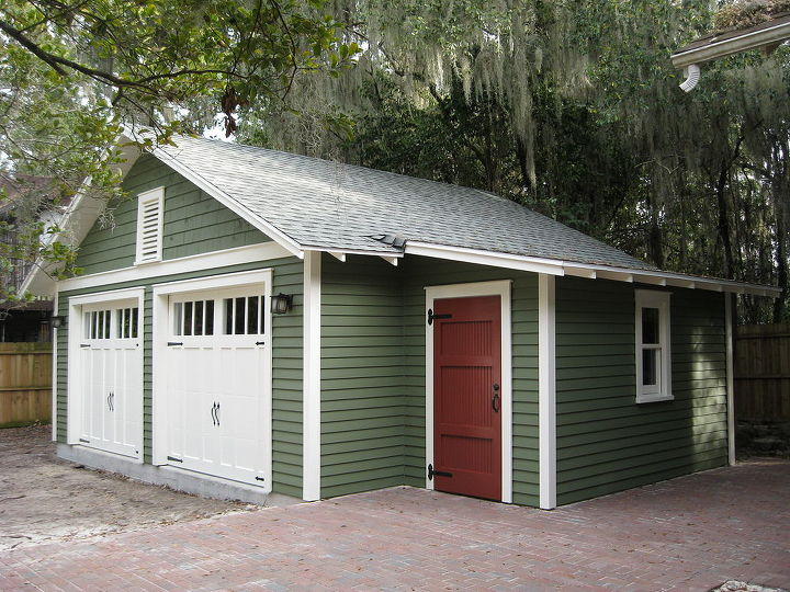 Custom two car garage with attached workshop hometalk for Sheds in brooksville fl