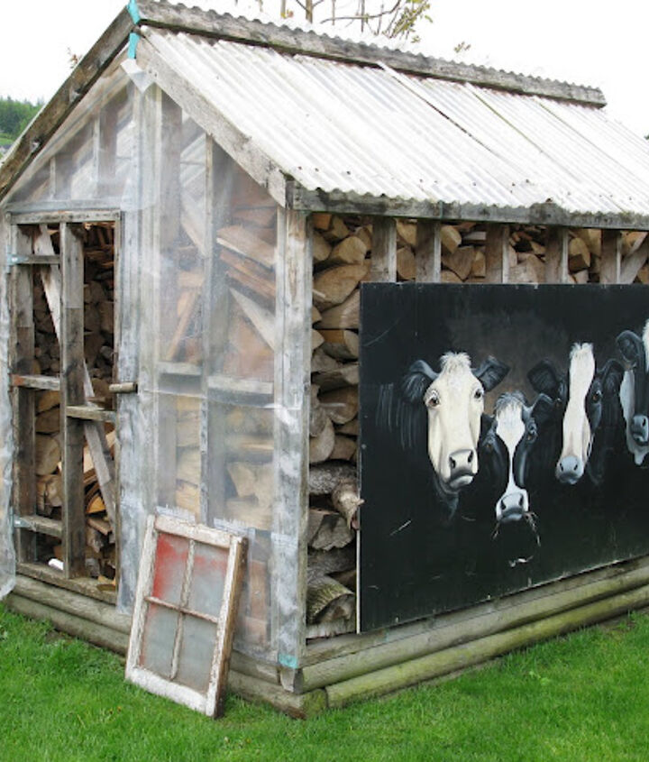 a rustic shed made from reclaimed lumber, doors, outdoor living, repurposing upcycling, The before The lovely cow mural was hand painted by a friend which now is safely in storage until it lands a new location