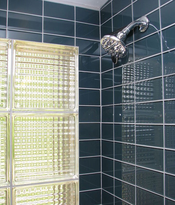 The original bathroom had a cross reed glass window so we decided  to honor that with this cross reed glass block.