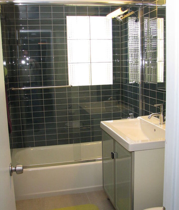 do you mind if i share a few photos of a mid century modern bathroom we remodeled, bathroom ideas, home decor