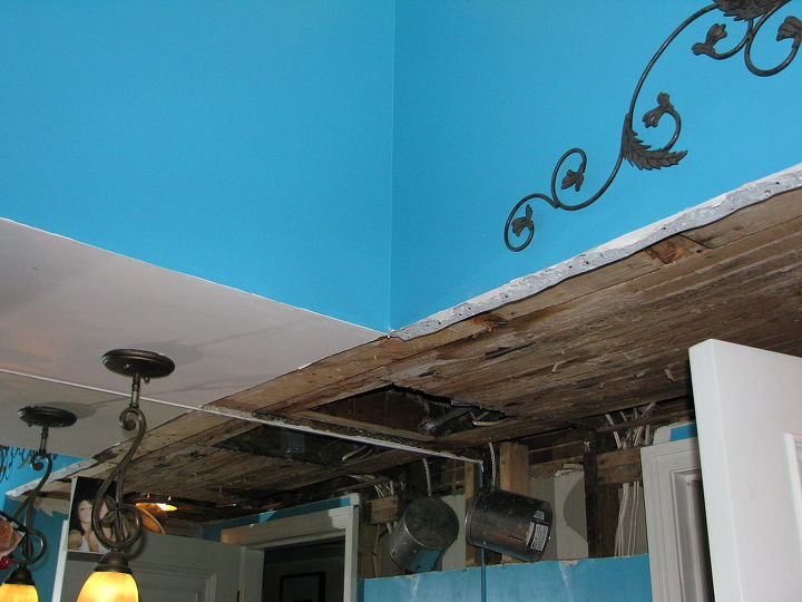 A bad storm created this ceiling damage prior to our bathroom remodel.
