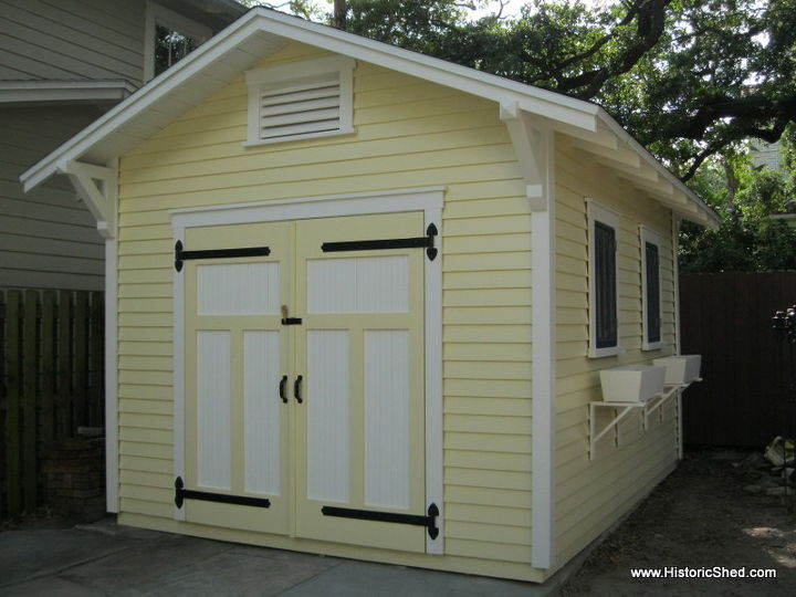 A 10'x14' custom gable shed designed to complement a historic bungalow in Tampa, FL