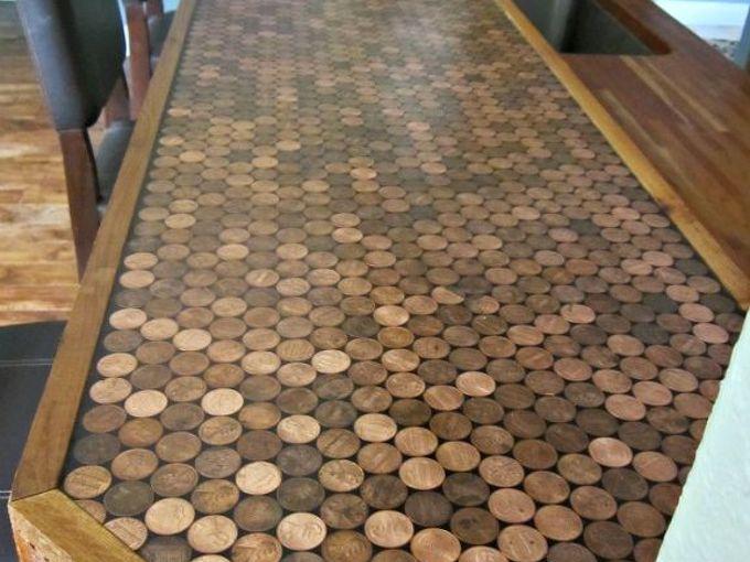 penny countertop, countertops, home decor