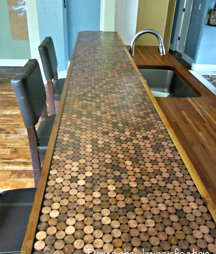 DIY Penny Countertop by Domestic Imperfection