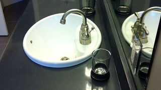 q vanity, bathroom ideas, painted furniture, concrete bath vanity