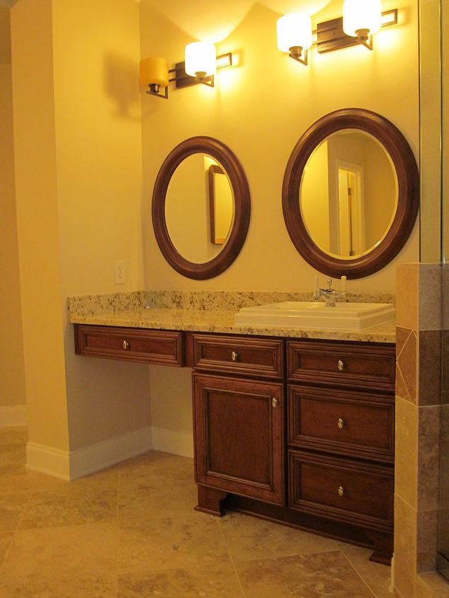 "Sole Cabinetry, Cherry Wood / Linden Door, Chestnut Stain with Black Antique Glaze. ""His"" Vanity Cabinet Is 34 1/2"" - ""Hers"" Is 31""! Is Your Bathroom This Customized?"