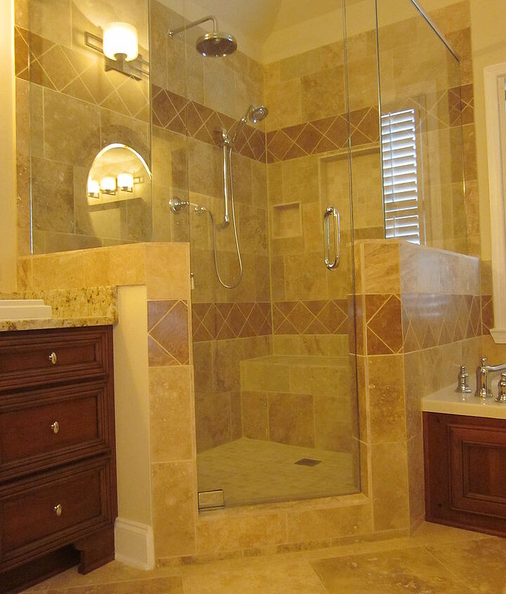 Shower Is Tuscany Beige Travertine Honed With Noce Alpaca Travertine Honed