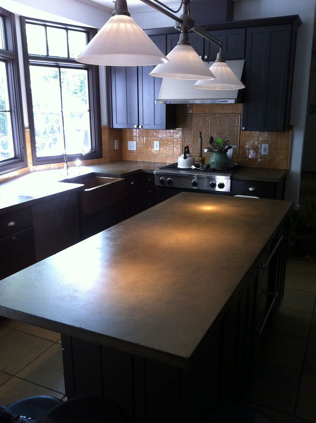 concrete countertops finished up today, concrete countertops, countertops, Concrete Island