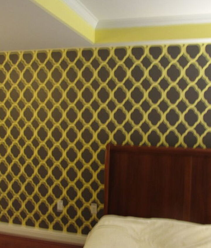my first attempt at an all over wall stencil a success, home decor, painting, wall decor