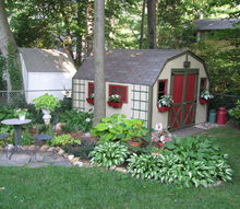 shed makeover, outdoor living, I decided I wanted something better Here is the result We added old windows to the front and window boxes