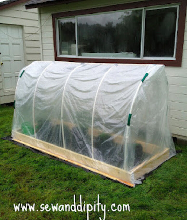 diy greenhouse for approx 50, gardening, Small greenhouse approx 4 1 2 H x 3 W x 8 L