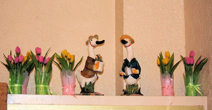 Decorative tulips with friendly duck couple! I love this cute  duck couple.