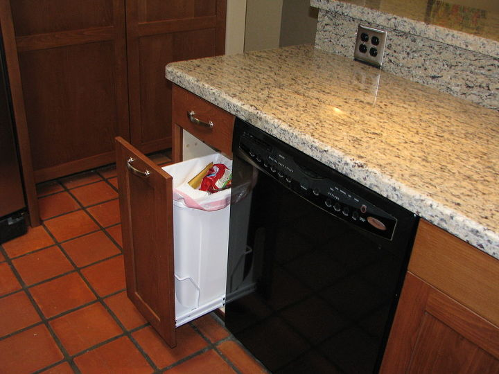 The addition of a built-in trash cabinet eliminates the need for the previous trash can in the traffic pattern.