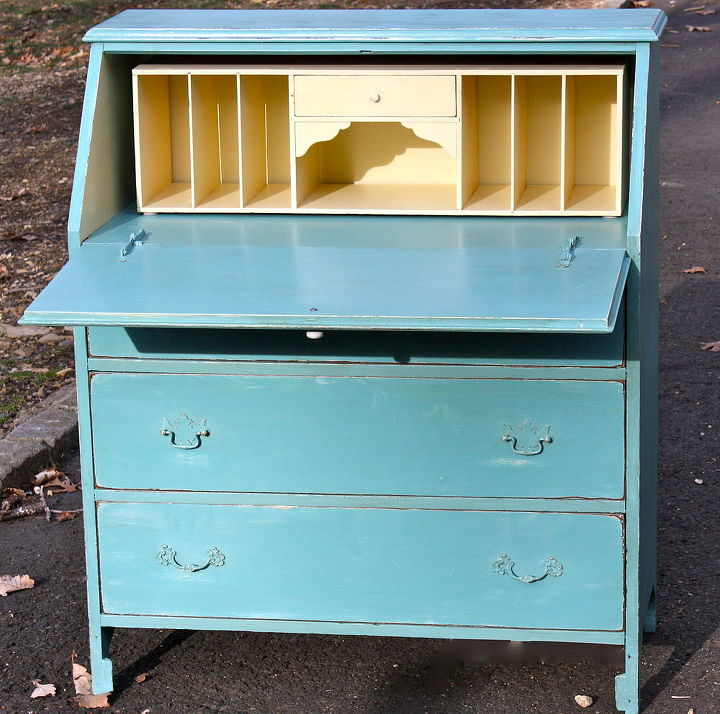q here s a drop top desk is that what it s called i finished today, home decor, painted furniture, I was worried about the colors It s hard for me to step outside the white box