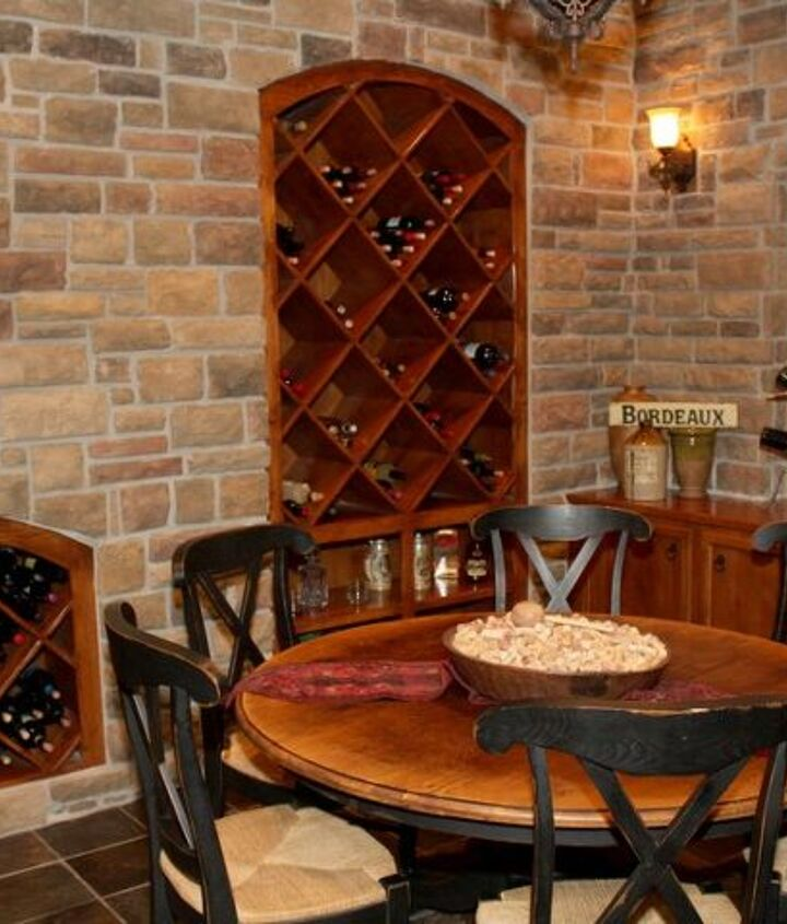 This angel shows more attention to detail with ample wine storage, all done with stained Alder Wood