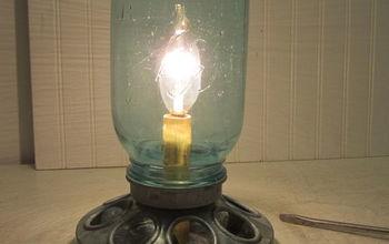 Galvanized Chicken Feeder and Mason Jar Repurposed Into Lamp