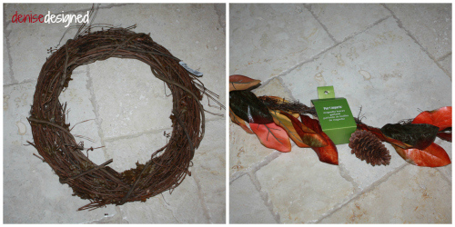 I attached a pre-made garland to a simple grapevine wreath.  Full instructions are in the post... http://denisedesigned.com/2013/10/18/diy-fall-burlap-wall-designs/