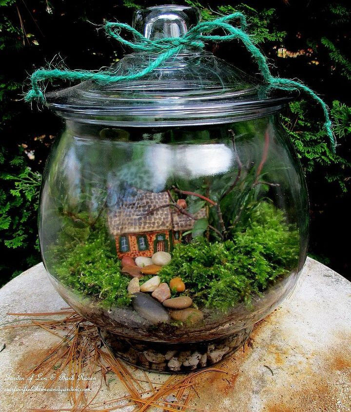 My rustic cottage getaway terrarium.Directions at:http://ourfairfieldhomeandgarden.com/diy-project-design-a-rustic-cottage-getaway-in-a-terrarium/