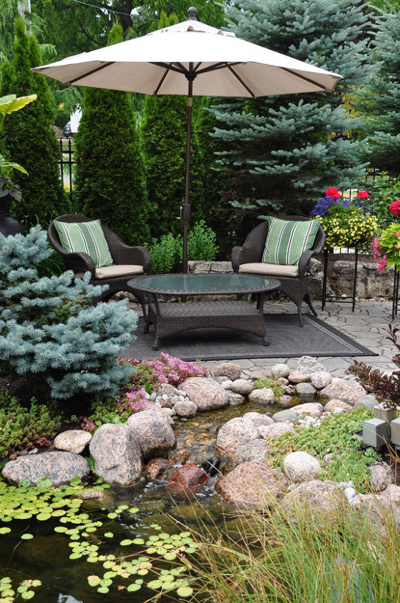 If you are thinking of adding a water feature to your garden, plan to incorporate a seating area by the pond. That way you can sit and enjoy the sites and sounds it will provide.
