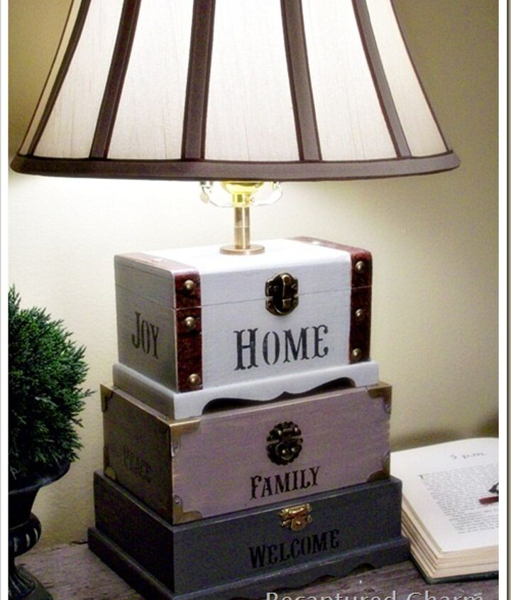 Dollar store trinket boxes and a lamp kit makes a very unique lamp for any room