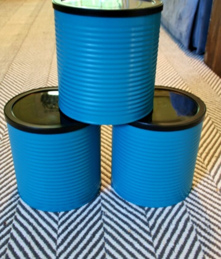 Spray paint the coffee cans teal. Use thin coats to get into all those ripples.