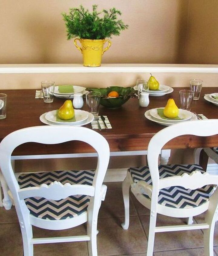 revamped old chairs with white paint and chevron patterned fabric, painted furniture, reupholster