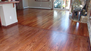 how can i refinish my hardwood floors without sanding, flooring, hardwood floors, home maintenance repairs, Full sand stain in foreground screen and recoat in background