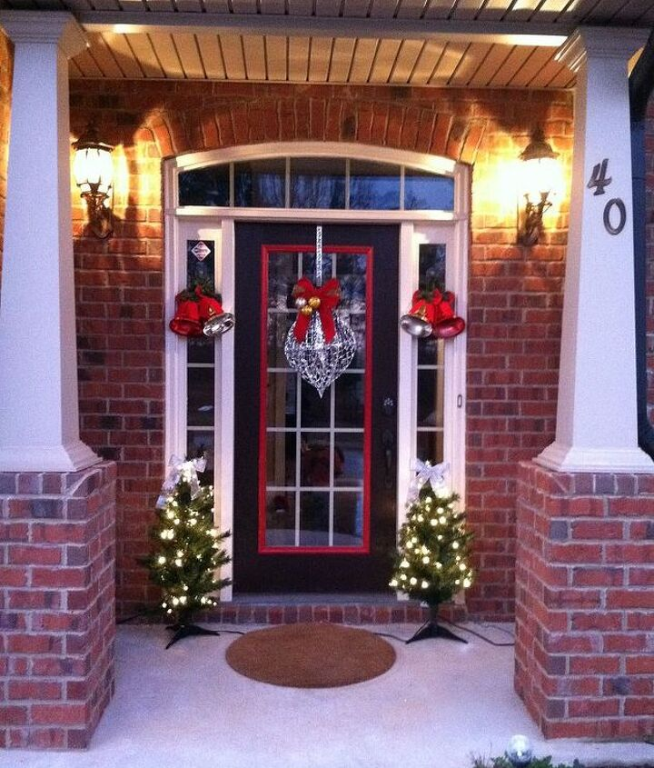 Our front door all decorated...Instead of a traditional wreath Im so different.
