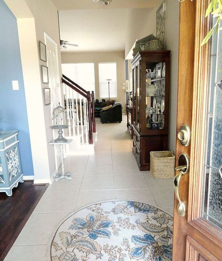 Coming in the door, this is what you see.  http://thededicatedhouse.blogspot.com/2013/06/the-entrywayfinished.html