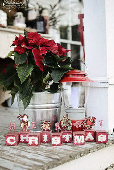 front porch hot cocoa party part 2, christmas decorations, crafts, seasonal holiday decor, Merry Christmas sign red poinsettia in a galvanized tub on a country farm house front porch