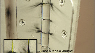 q what can cause a door to stick and be hard to open, doors, home maintenance repairs, dust on hinge is a sign of wear