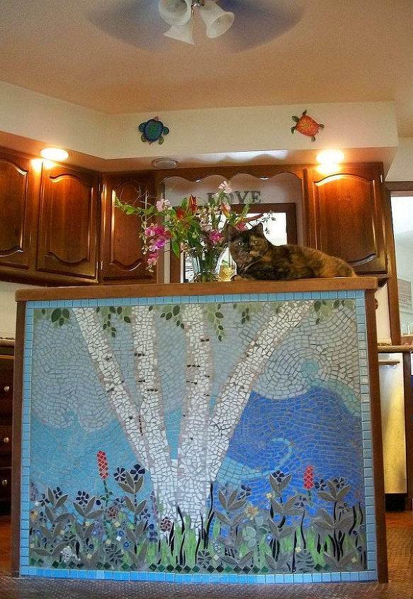 Our mosaic kitchen island.