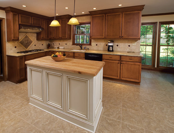 AFTER - private label custom cabinets, mapped island with butcher block island top