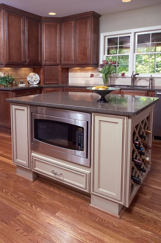 Appliances added to island - Created more cabinet storage space!