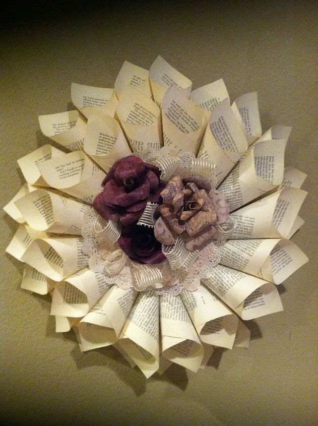 book page wreath with paper roses, crafts, wreaths, Overall look of the wreath I usually do a double row of cones and leave the center to add roses and embellishments