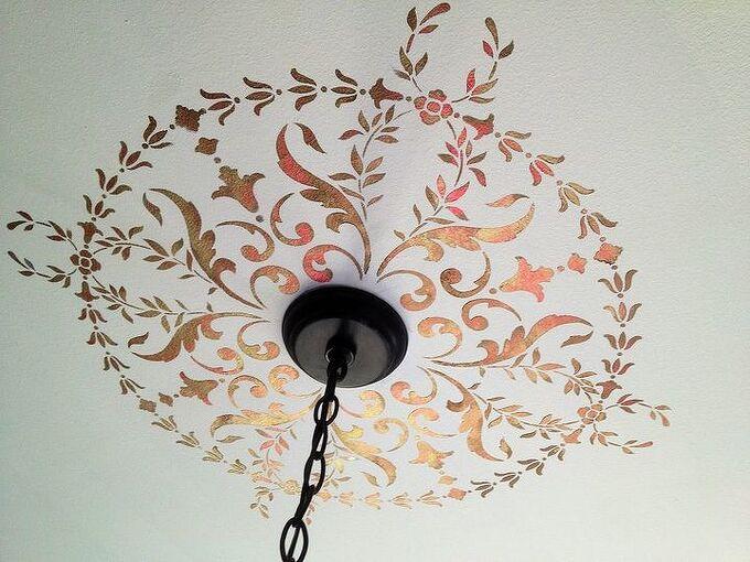 stenciled ceiling medallion in festive metallic paints, home decor, living room ideas, paint colors, painting, Metallic Medallion stencil for the holidays