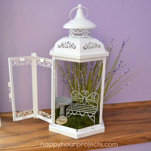 A repurposed lantern is a great place for fairies to stay while on fairy-business!