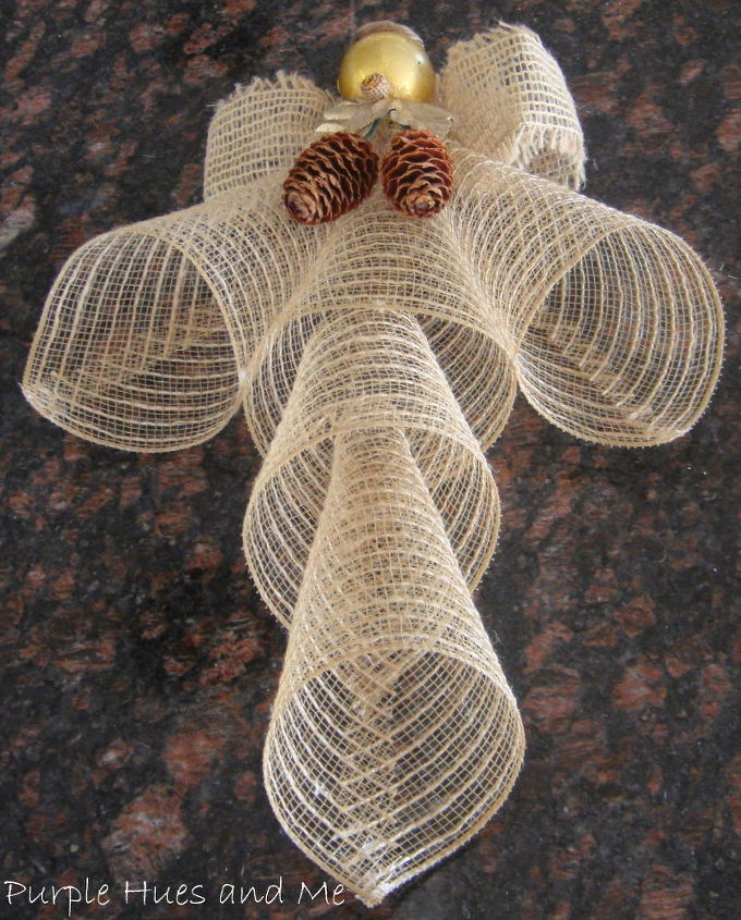 mesh ribbon angel, crafts, seasonal holiday decor, wreaths, Cut fourth cone in half discarding top and glue to center cone Glue fifth cone into fourth cone making sure to line up seams and points