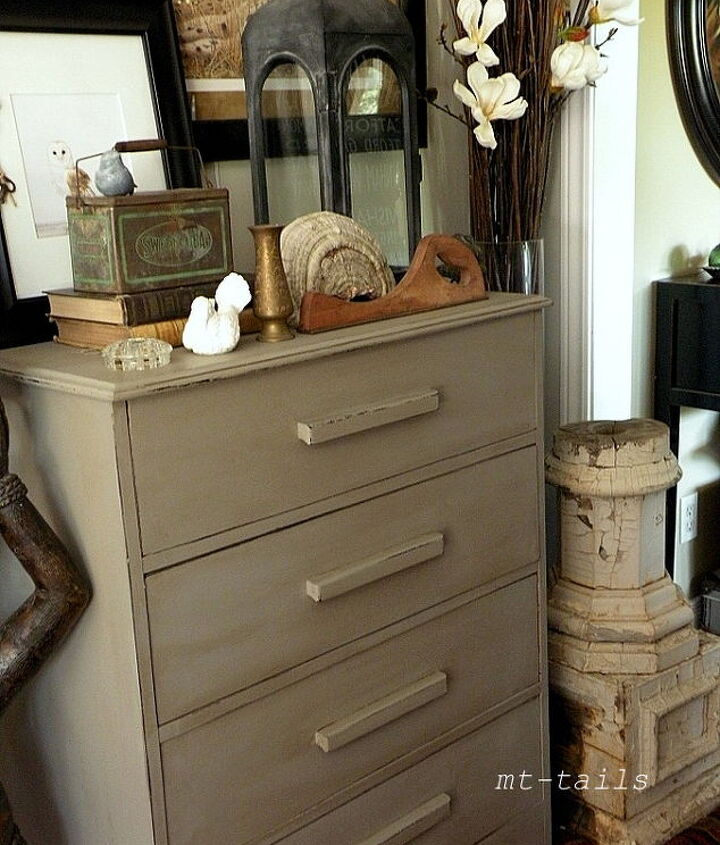 a recycled dresser with french linen paint