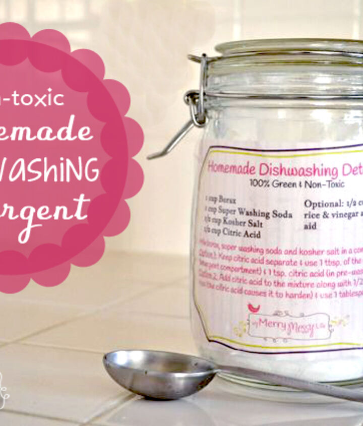 Homemade dishwashing detergent recipe with free printable label!