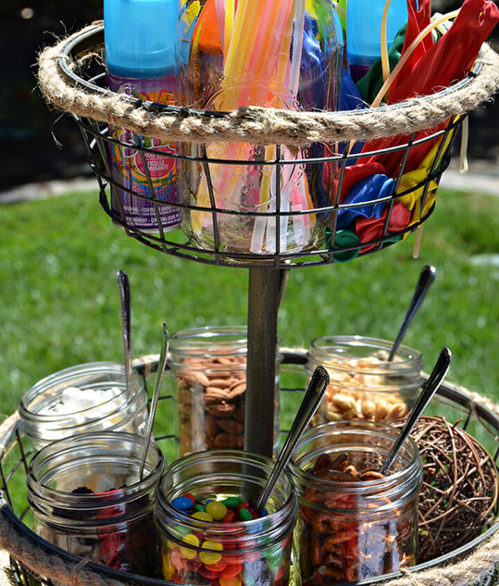 A trail mix station and party favors.  The silly string war was a ton of fun for the kids, but a bit messy for me to clean up!