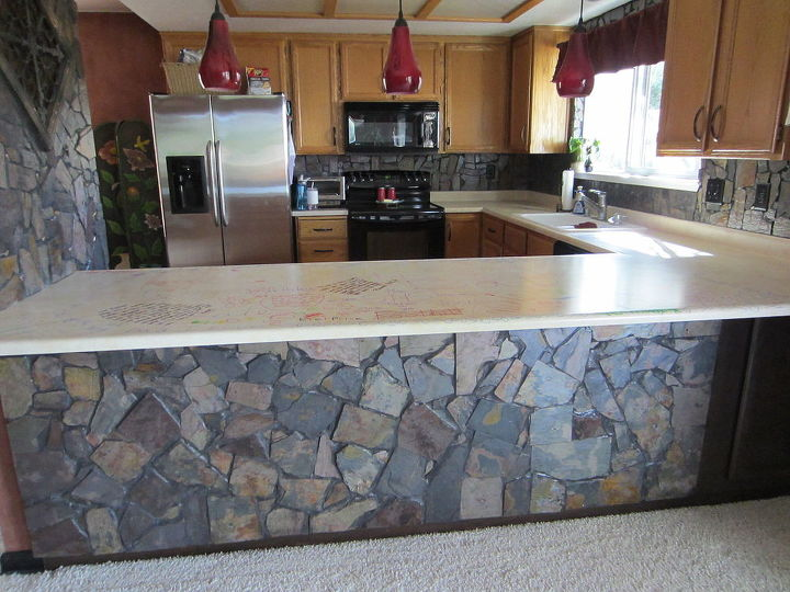 our concrete countertops, concrete masonry, concrete countertops, countertops, diy, kitchen design
