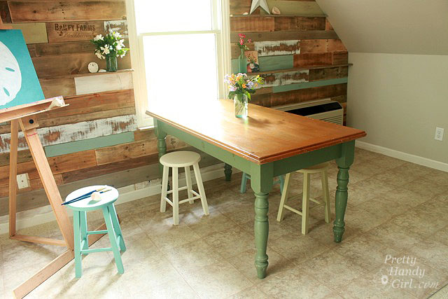 dumpster table gets a stencil and chalk paint makeover, chalk paint, painted furniture