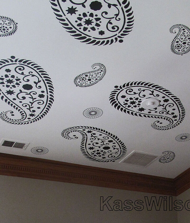 Stencil pattern on ceiling to camouflage the fixtures.www.KassWilson.com
